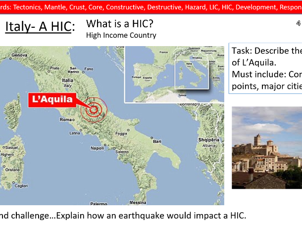 Geography Lesson- L'Aquila 2009 Earthquake case study