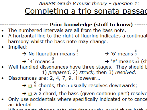 Grade 8 theory 'how-to':  complete a trio sonata passage (question 1)