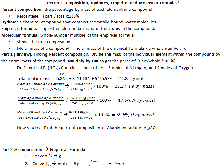 Percent Composition, Hydrates, Empirical and Molecular Formulas by ...