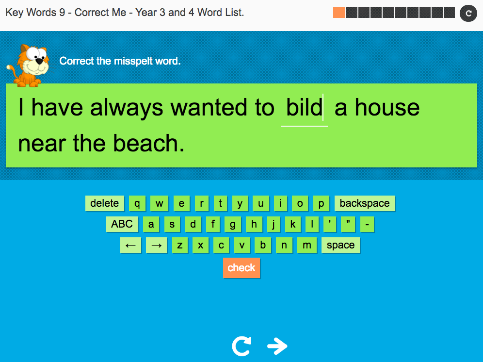 Key Words Spelling Interactive Exercise 9 - Correct Me - Year 3/4 Spag
