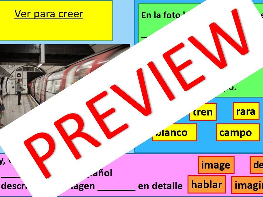 Spanish Reading Images Photo/Picture Card Discussion GCSE Speaking Test Prep 2018 (Differentiated)