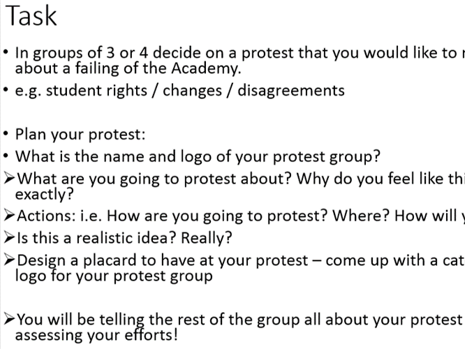 Y11 to 12 Induction lesson A Level History - Protest / Civil Rights