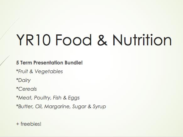 WJEC GCSE KS4 Food Preparation & Nutrition - Bundle (Fruit/Veg; Dairy; Cereals; Meat, Poultry, Fish & Eggs; Butter, Oil, Margarine, Sugar & Syrup) 5 Term PowerPoints + freebies