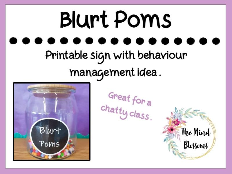 Blurt Poms Behaviour Management Resource