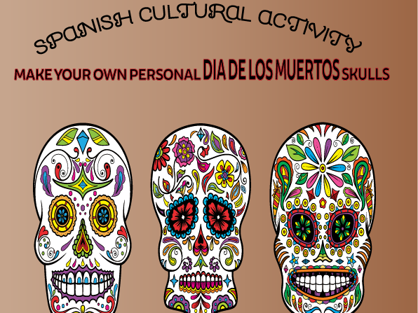 Spanish Cultural Activity: Make your own Dia De Muertos colourful skulls