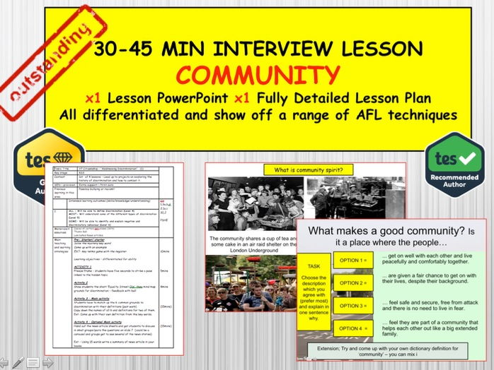 What makes a community?: (Interview or Observation Lesson Resources) PSHE Citizenship.