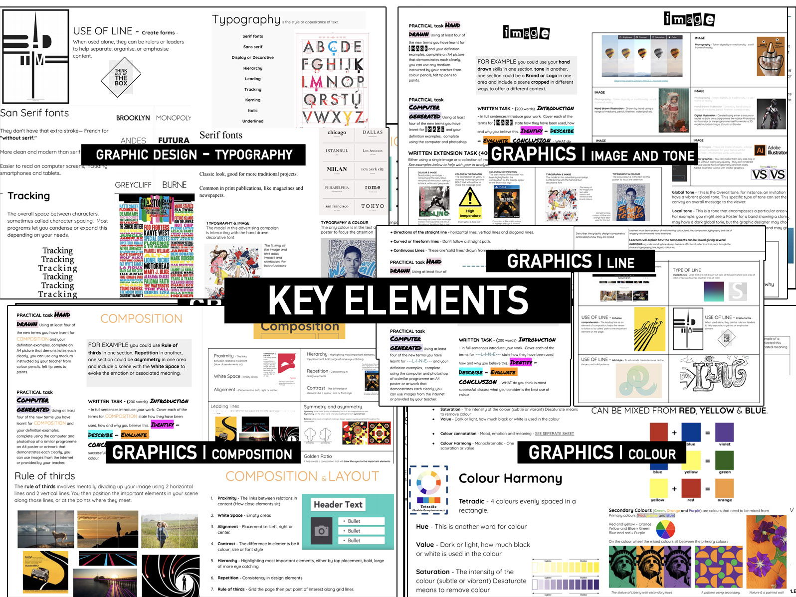 GRAPHIC Design    Key Elements - COLOUR, IMAGE & TONE, COMPOSITION, LINE and TYPOGRAPHY