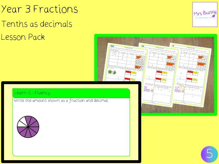 Tenths as decimals worksheets (Year 3 Fractions)