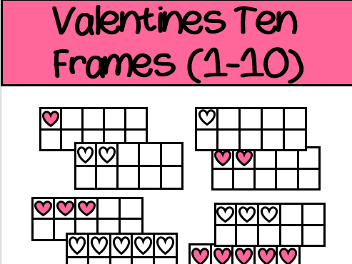 Valentine's Day Ten Frames Clip Art heart Set (both colour and b&w)