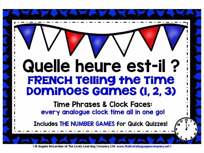 FRENCH TELLING THE TIME - NINE DIFFERENTIATED DOMINOES GAMES - EVERY ANALOGUE CLOCK TIME IN FRENCH!