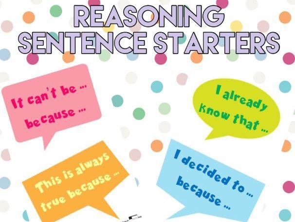 Reasoning Sentence Starters