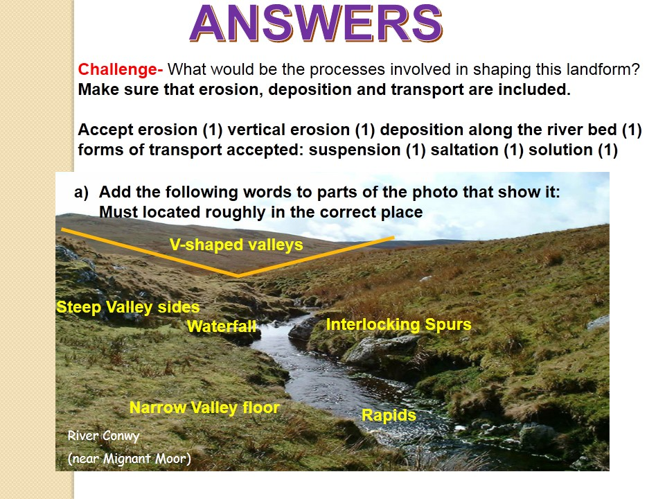 NEW OCR B Enquiring Minds DISTINCTIVE LANDFORMS 2017 16) Upper River Landforms WITH ANSWERS