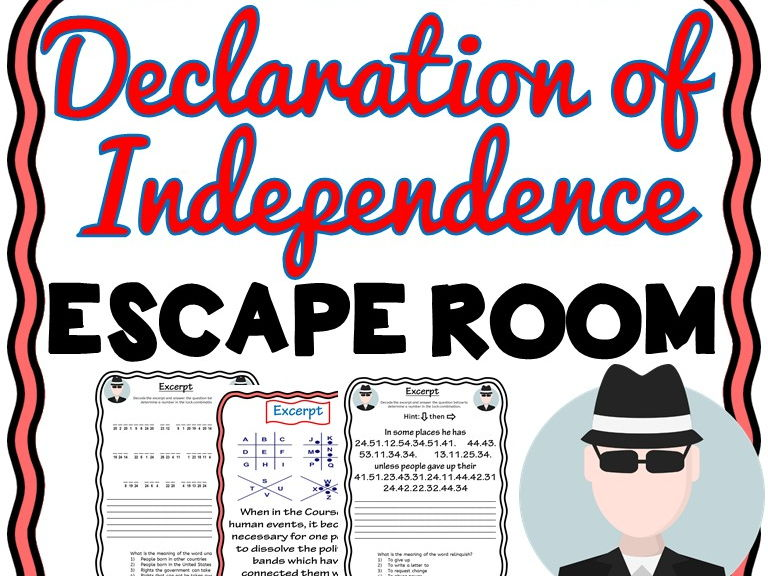 U.S Declaration of Independence Escape Room - No Prep!
