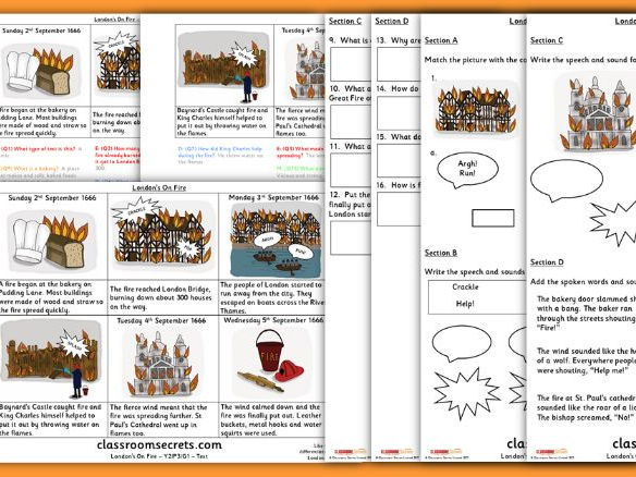 The Great Fire of London Year 2 Whole Class Guided Reading