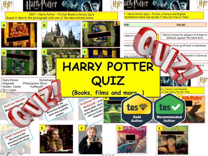 2017 - Harry Potter Quiz (Fiction, Literacy) - 8 rounds & 47Qs' World Book Day. End of term Quiz.