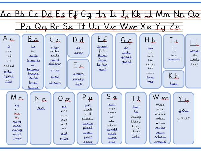 Year Two Common Exception Words with Alphabet