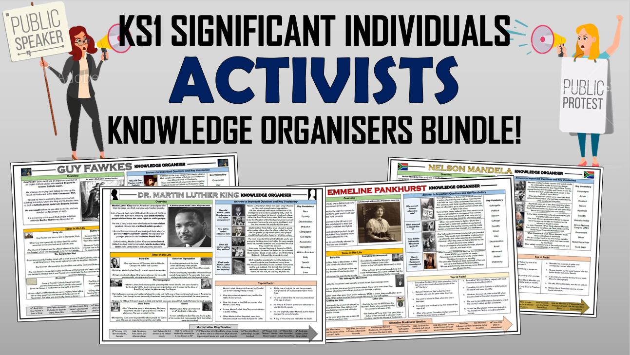 KS1 Significant Individuals - Activists - Knowledge Organisers Bundle!