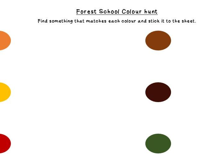 Forest School outdoor Colour Hunt