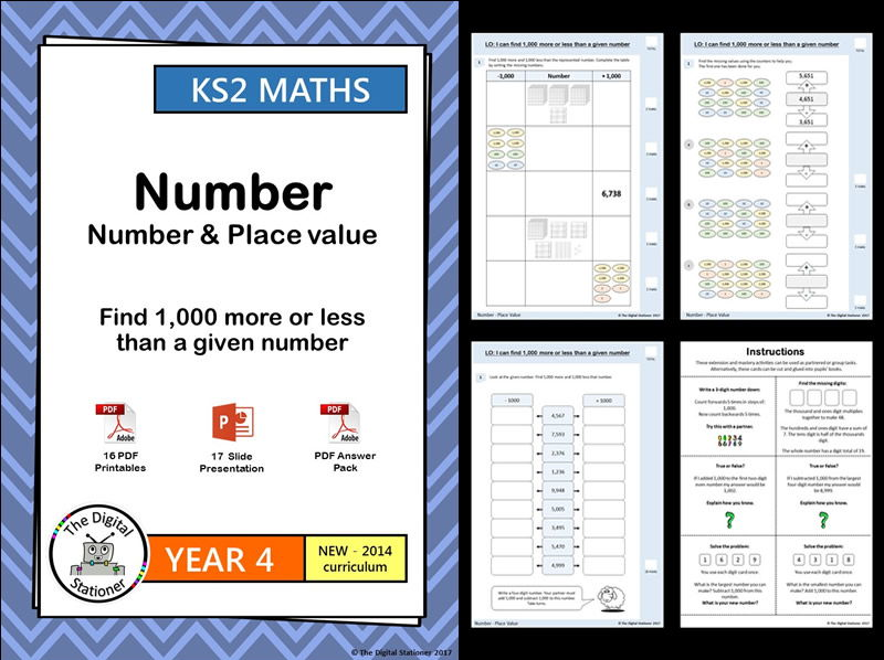 Year 4 – Find 1,000 more or less than a given number – Place Value week 1-4  - White Rose (MASTERY)