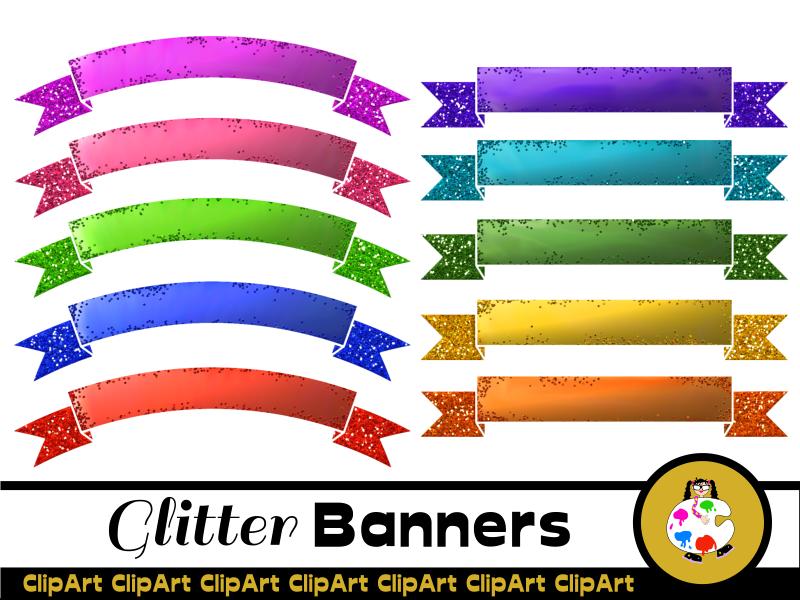 Clip Art Glitter Ribbon Banners