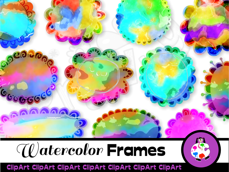 Clip Art Watercolor Paint Scallop Frames