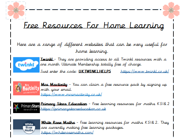 Free Resources for Home Learning - Links & Resources