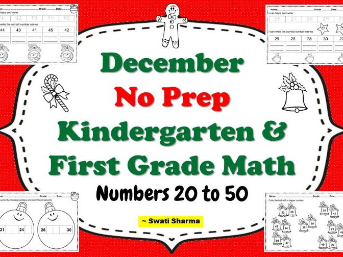 December NO PREP Kindergarten and First Grade Math