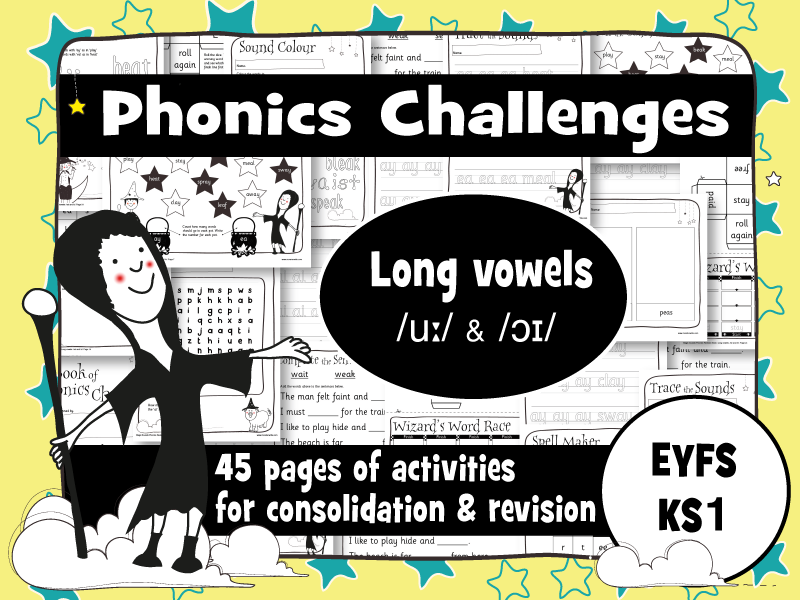 45 Phonics Revision Activities: Long vowels: /uː/ & /ɔɪ/ (oo, ew, oi, oy)