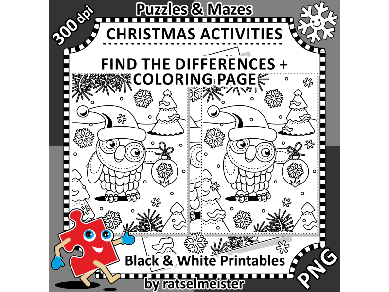 christmas activities owl with ornament find the differences and colouring page