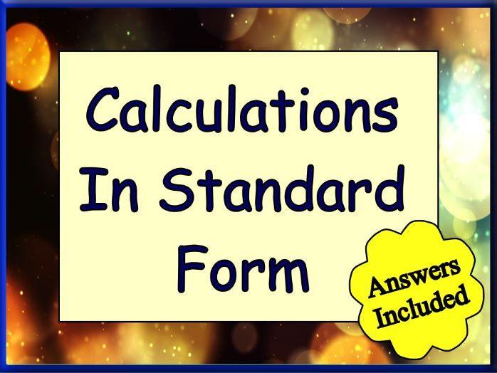 Calculations In Standard Form Worksheet