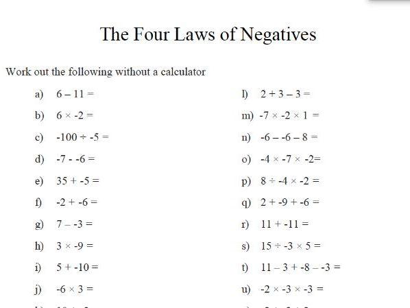 gcse maths the laws of negatives revision worksheet by theeducationspecialist teaching resources. Black Bedroom Furniture Sets. Home Design Ideas