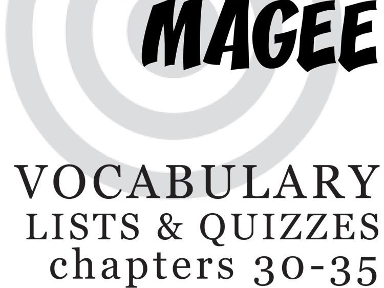 MANIAC MAGEE Vocabulary List and Quiz (chapters 30-35)