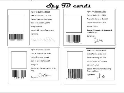 List of synonyms and antonyms of the word spy cards for Spy id card template