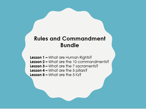 Scheme of Learning: Rules and Commandments