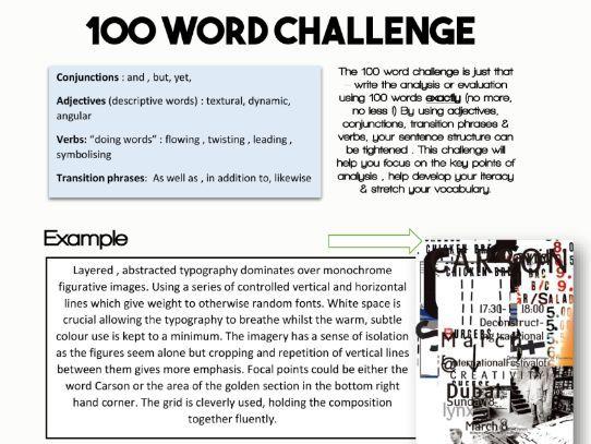 KS4 KS5 Describing other's artwork: the 100 word challenge worksheet GCE BTEC