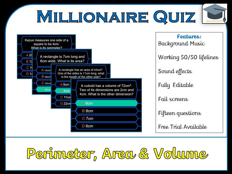 Millionaire Quiz! (Perimeter, Area and Volume)
