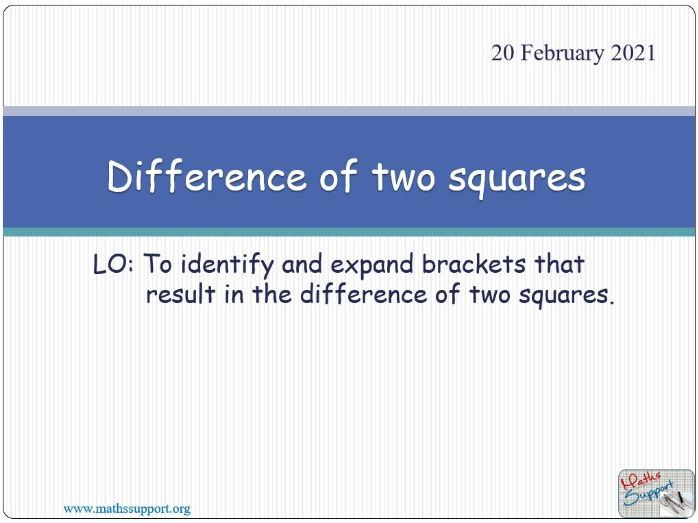 Expanding the difference of two squares
