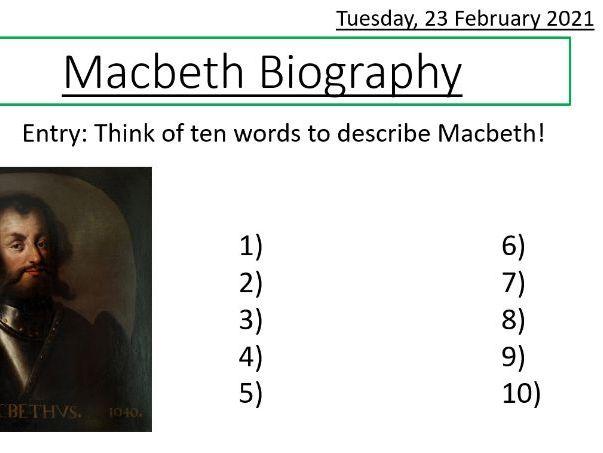Macbeth Biography Writing