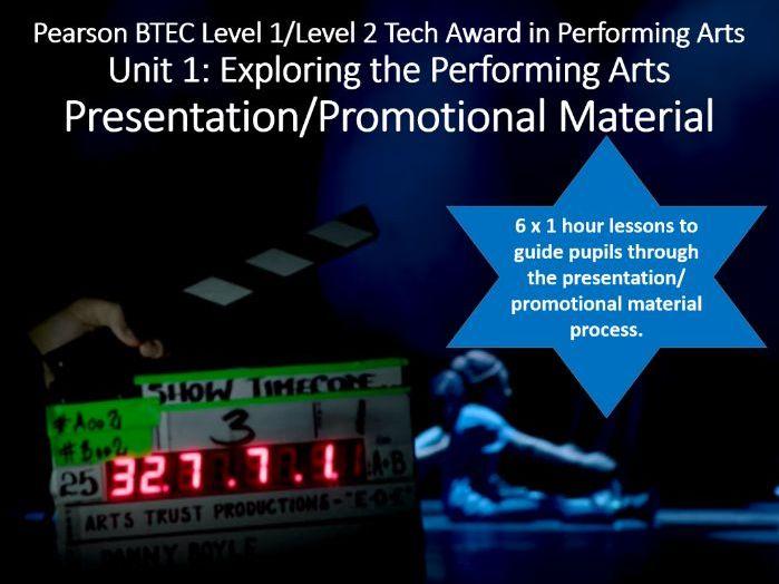 L2 BTEC Performing Arts Unit 1 Presentation/Promotional Material lessons