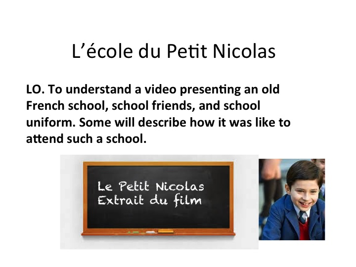 GCSE French School topic - Le Petit Nicolas