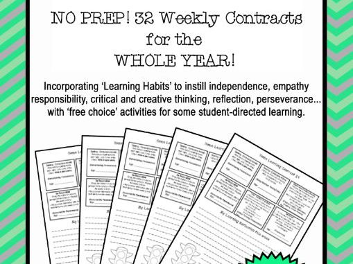 Homework Contracts for 21st Century Learners - Grade 3/4 KS2 - WHOLE YEAR BUNDLE!