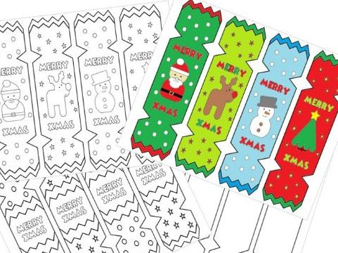 Christmas Cracker Bookmarks Colouring Activity