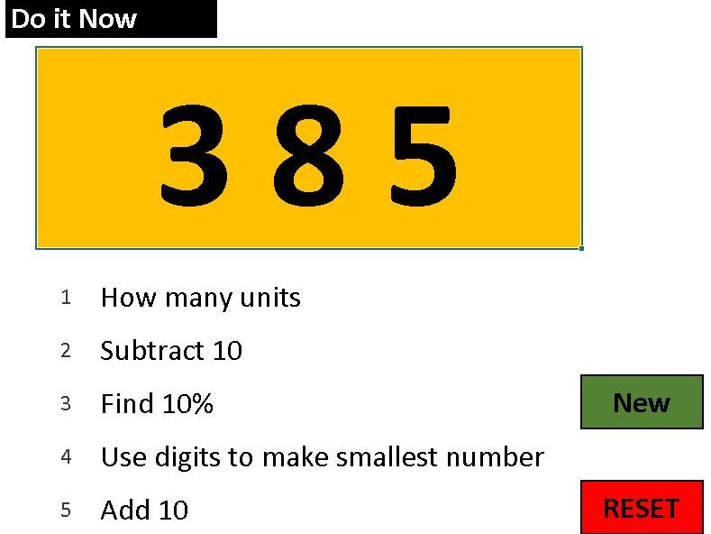 Numeracy Starter - 5 quick questions