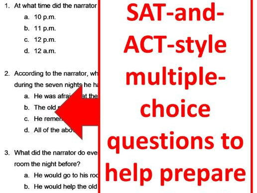 The Tell-Tale Heart Reading Comprehension Test Quiz and Essay Questions