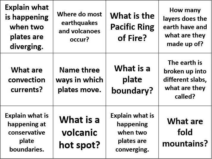 Plate tectonic question cards