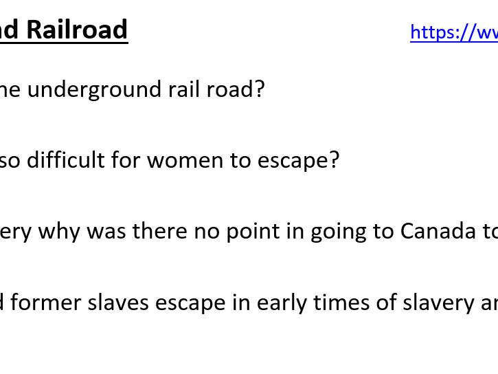 Underground Railroad video work sheet