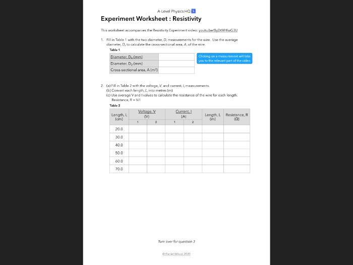 Resistivity Experiment Worksheet