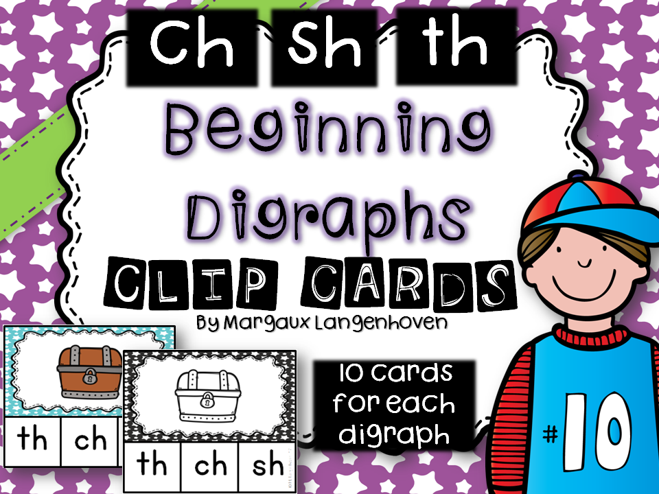 Beginning Digraphs Clip Cards (ch-, sh-, th-)