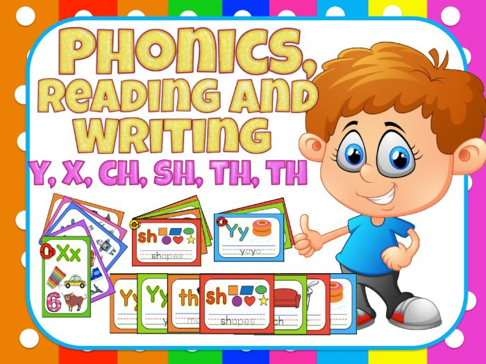 Jolly Phonics- Reading and writing for centers - y, x, ch, sh, th, th
