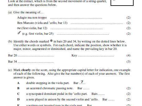 Grade 8 theory-style score-reading question (string quartet)